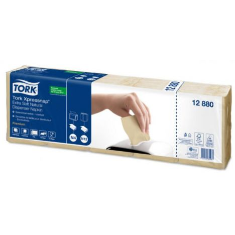 Tork Xpressnap® dispenserservet 21,6x16,5cm 2-laags 1/2-vouw naturel N4